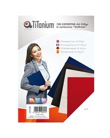 100 COPERTINE A4 CARTONCINO GOFFRATO 230g BLU TiTanium