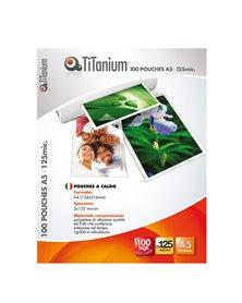 100 POUCHES 75x105mm 125my JUMBO CARD TiTanium