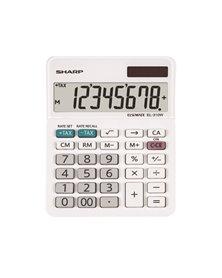Calcolatrice da tavolo EL 310W, 8 cifre, doppia alimentazione, bianca