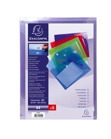 Busta a tasca con velcro in pp colorato f.to 24x32cm per A4 Exacompta