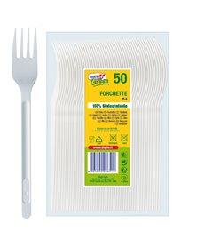 50 Forchette Compact in PLA bianco DoplaGreen