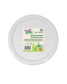 25 Piatti frutta Ø170mm BIODEGRADABILI Mater-bi Dopla Green art. 45001