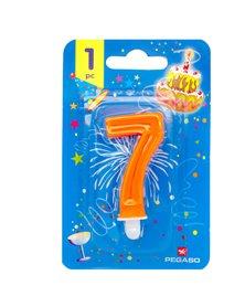 Blister candelina n°7 arancio fluo 7cm Pegaso