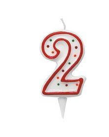 Candelina Zuccherino numero 2 - h. 8.5cm Big Party