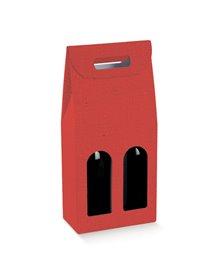 Scatola 2 bottiglie c/maniglia 180x90x385mm lino rosso 38028 SCOTTON