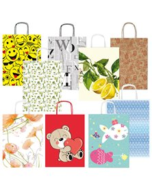 Shopper carta kraft c/manici in carta ritorta 26x34,5x12cm fantasie ass. Sadoch