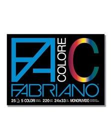 BLOCCO FACOLORE (24X33CM) 25FG 220GR 5 COLORI FABRIANO