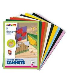SET 10FG CARTONCINO ONDULATO 25X35CM CANNETE' colori assortiti CWR