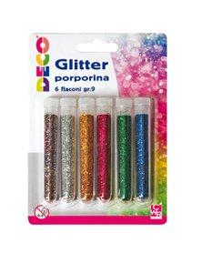 Blister glitter 6 flaconi grana fine 12ml colori assortiti Cwr