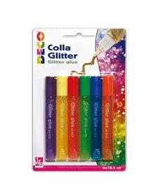 Blister colla glitter 6 penne 10,5ml colori pastello assortiti Cwr