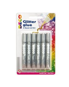 Blister colla glitter 6 penne 10,5ml argento Cwr