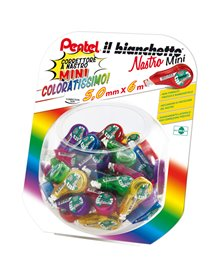 0100959 Boccia con 48pz Il Bianchetto Nastro 5mmx6mt in colori ass. PENTEL