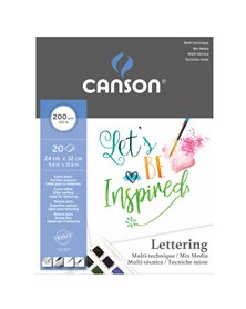 Blocco Lettering Mix Media 24x32 cm 30 fg. 200 gr. Canson