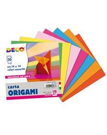 Confezione 20 fogli carta per origami 14x14cm colori assortiti CWR