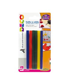 12 stick colle colori assortiti per pistola mini TG02M Ø.7mm - lungh.10cm Cwr