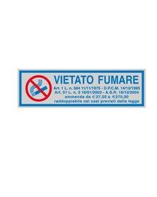 TARGHETTA ADESIVA 165x50mm VIETATO FUMARE con normativa