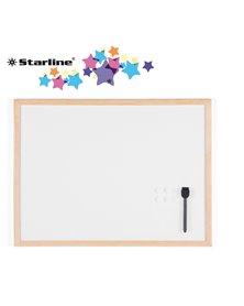 Lavagna bianca magnetica 60x90cm cornice legno Starline
