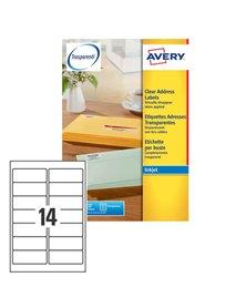 Poliestere adesivo J8563 trasparente 25fg A4 99,1X38,1 (14et/fg) Inkjet Avery