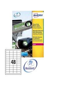 Poliestere adesivo L4778 bianco 20fg A4 45,7x21,2mm (48et/fg) laser Avery