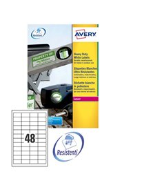 Poliestere adesivo L4778 bianco 20fg A4 45,7x21,2mm (48et/fg) laser Avery