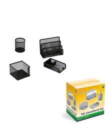 Set scrivania 4 accessori in rete metallica nero 1424 LEBEZ