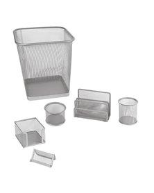 Set scrivania 6 accessori in rete metallica argento 1426 LEBEZ