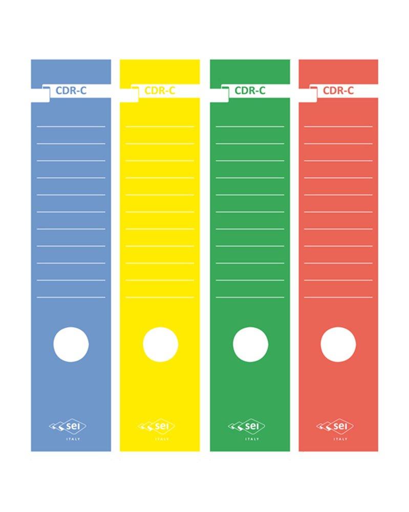 Busta 10 copridorso CDR-C carta adesiva rosso 7x34,5cm SEI ROTA