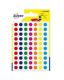 Blister 420 etichetta adesiva tonda PSA col.ass. Ø8mm Avery