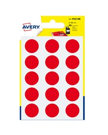 Blister 90 etichetta adesiva tonda PSA rosso Ø19mm Avery