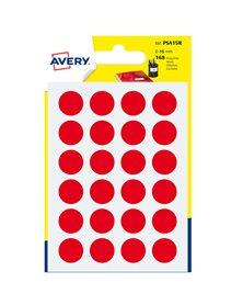 Blister 168 etichetta adesiva tonda PSA rosso Ø15mm Avery