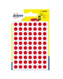 Blister 490 etichetta adesiva tonda PSA rosso Ø8mm Avery