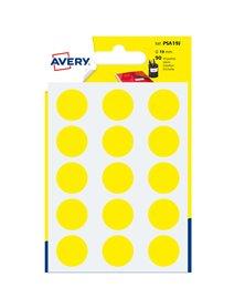 Blister 90 etichetta adesiva tonda PSA giallo Ø19mm Avery