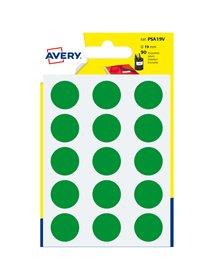 Blister 90 etichetta adesiva tonda PSA verde Ø19mm Avery