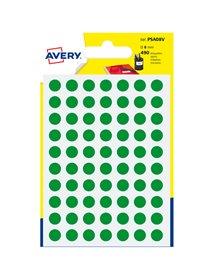 Blister 490 etichetta adesiva tonda PSA verde Ø8mm Avery