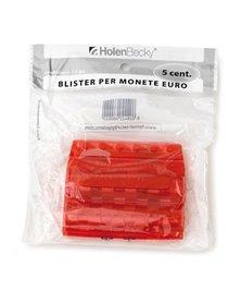 Blister 20 Portamonete in PVC 5cent rosso