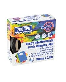 Nastro adesivo telato TPA nero 200 19mmx2,7mt Eurocel