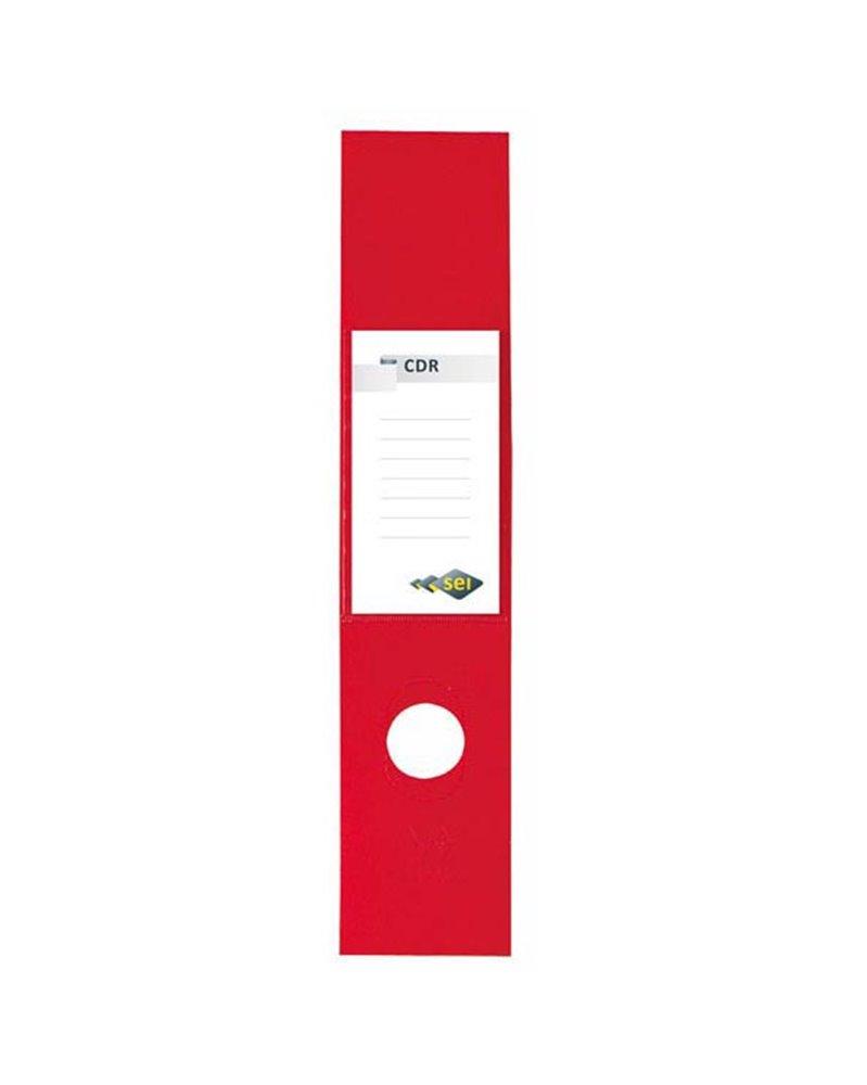 Busta 10 copridorso CDR PVC adesivi rosso 7x34,5cm SEI ROTA
