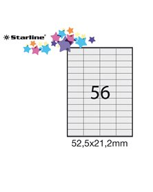 Etichetta adesiva bianca 100fg A4 52,5x21,2mm (56et/fg) STARLINE