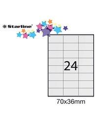 Etichetta adesiva bianca 100fg A4 70x36mm (24et/fg) STARLINE
