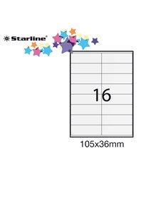 Etichetta adesiva bianca 100fg A4 105x36mm (16et/fg) STARLINE