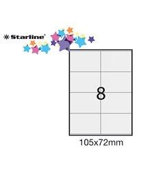 Etichetta adesiva bianca 100fg A4 105x72mm (8et/fg) STARLINE