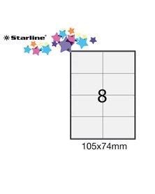 Etichetta adesiva bianca 100fg A4 105x74mm (8et/fg) STARLINE