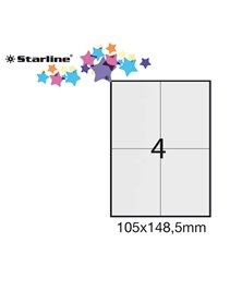 Etichetta adesiva bianca 100fg A4 105x148,5mm (4et/fg) STARLINE