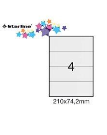 Etichetta adesiva bianca 100fg A4 210x74,2mm (4et/fg) STARLINE