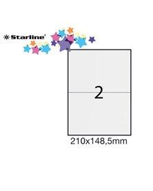 Etichetta adesiva bianca 100fg A4 210x148,5mm (2et/fg) STARLINE