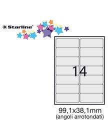 Etichetta adesiva bianca 100fg A4 99,1x38,1mm (14et/fg) angoli tondi STARLINE