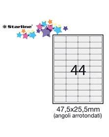 Etichetta adesiva bianca 100fg A4 47,5x25,5mm (44et/fg) angoli tondi STARLINE