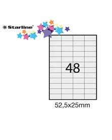 Etichetta adesiva bianca 100fg A4 52,5x25mm (48et/fg) STARLINE