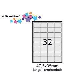 Etichetta adesiva bianca 100fg A4 47,5x35mm (32et/fg) angoli tondi STARLINE