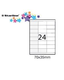 Etichetta adesiva bianca 100fg A4 70x35mm (24et/fg) STARLINE